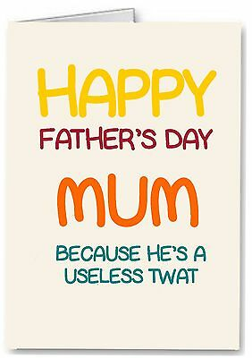 £3.25 • Buy Fathers Day Card For Mum - Rude Funny Joke - Premium Quality - Alternative Dad