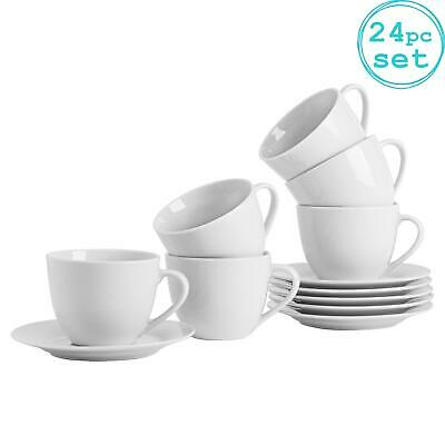 £28.49 • Buy White Cappuccino Cups And Saucers Set Coffee Tea Porcelain 320ml (11oz) Set X12