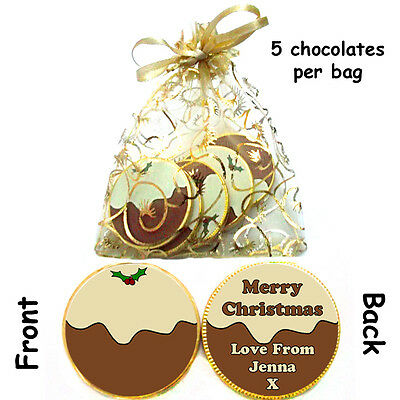 1 X Bag Of 5 Personalised CHRISTMAS PUDDING Milk CHOCOLATE COINS Xmas Gift • 1.99£
