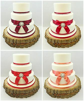 £16.99 • Buy Wedding Cake Single Pearl Brooch – Pearls & Satin Ribbon Cake Topper Coral Reds