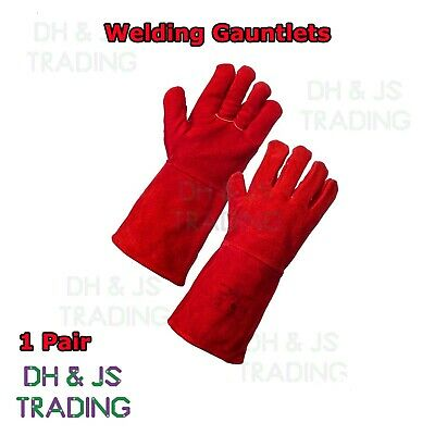 Red Superior Mig Welding Gauntlets Protective Gloves Heat Resistant Leather • 7.65£