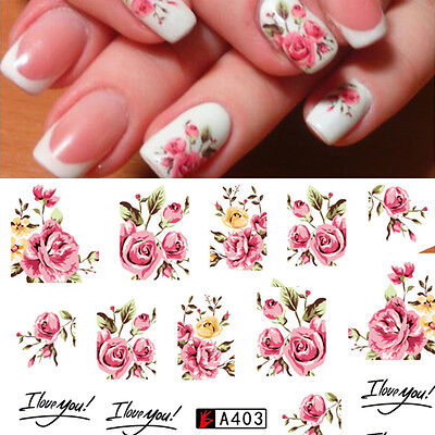 £1.65 • Buy Nail Art Water Decals Stickers Transfers Rink Roses Flowers Gel Polish (A403)