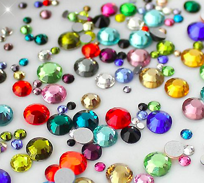 1000 Rhinestones Crystal Acrylic Flat Back Beads Gem Wedding Diamante Embellish  • 1.99£