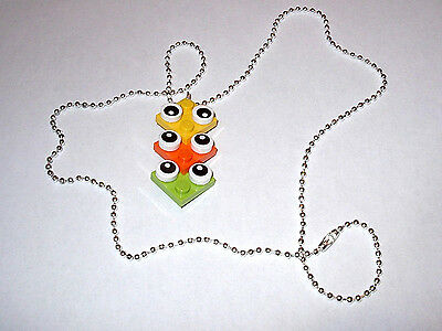$9.99 • Buy 7 Party Favors Necklace Yellow  Orange Lime Green Lego Eyes Block Plate Grab Bag