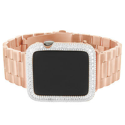 $ CDN680.36 • Buy Rose Gold Tone Apple Watch 42mm  Bezel 925 Silver Custom President Band