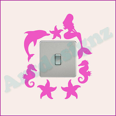 MERMAID Light Switch Sticker Surround Girls Bedroom Vinyl Wall Art Decal AD200 • 2.85£