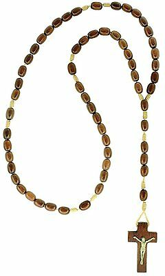 $13.99 • Buy Mens Wooden Rosary Beads Necklace, Jatoba Wood, Made In Brazil, 18 Inch