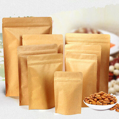 Resealable Zip Lock Kraft Paper Bag Pouch Stand Up Foil Heat Seal Food Grade • 3.99£