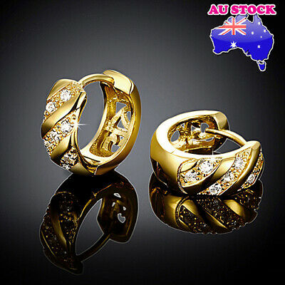 AU6.95 • Buy Elegant 18K Gold Filled Zirconia 6mm Huggie Hoop Earrings