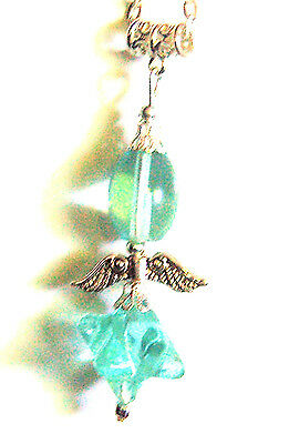 Handcrafted  MERKABAH  Blue Obsidian Crystal  Angel  Pendant Boxed Gift Chain • 4.99£