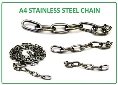 £3.36 • Buy Stainless Steel Chain Grade A4 / 316 Sizes 2mm 3mm 4mm 5mm Marine St/st Chain