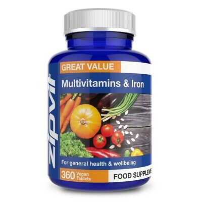 £8.99 • Buy Multivitamins & Iron - Pack Of 360 Vegan Tablets, One A Day For Men & Women, ...