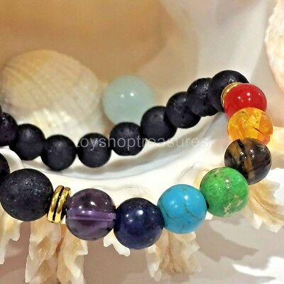 AU11.95 • Buy New Aromatherapy Essential Oil Diffuser Gemstone Chakra Bracelet Lava Stone Gold