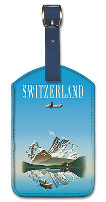 SWISS VINTAGE AIRLINES Leatherette Travel LUGGAGE TAG Baggage Label SWITZERLAND • 9.10£