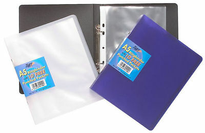 £4.89 • Buy A5 Slim Ring Binder Book + 10 Plastic Punched Pockets Quality Folder, NEW