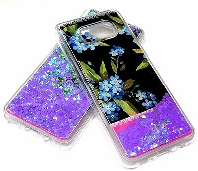 $ CDN11.03 • Buy For Samsung Galaxy S8 - BLUE Flowers Purple Heart Pink Glitter Liquid Case Cover