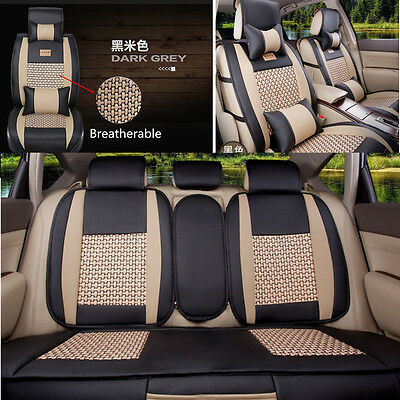 $ CDN152.17 • Buy Black&Beige 5-seat Car Seat Covers Cushion Cooling Mesh+PU Leather + Pillows Set