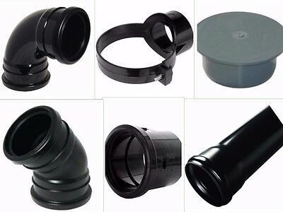 Black Soil Pipe And Ring Seal PushFit Fittings, Clips, Etc UPVC 110mm  • 9.99£