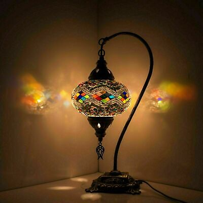 £39.99 • Buy Turkish Moroccan Style Glass Mosaic Table Bedside Tiffany Lamp Light Large Globe