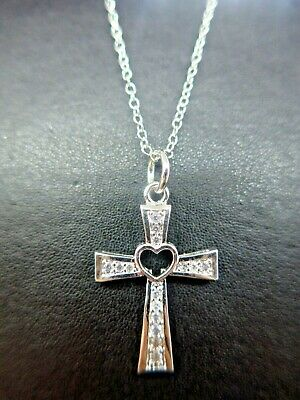 £5.95 • Buy Silver CZ Crystal Heart Cross Pendant Necklace Silver 925 Chain SPARKLING