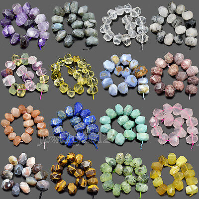 """Natural Faceted Gemstones Rondelle Nugget Freeform Beads 8"""" 10x15mm-13x19mm • 7.99$"""