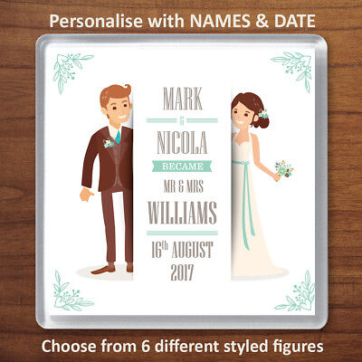 £3.99 • Buy Personalised Wedding Names Drinks Coaster Favours Mr & Mrs Anniversary Gift