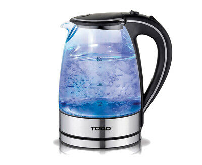 AU39.95 • Buy TODO 1.7L Glass Cordless Kettle 2200W Blue Led Light Electric Water Jug Black