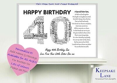 £6.79 • Buy Personalised Special Sister Poem Word Art 40th Birthday Christmas Gift Present