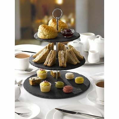£14.99 • Buy 3 Tier Natural Slate Cake Stand Afternoon Tea Wedding Plates Party Tableware