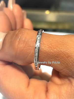 $69.98 • Buy 14k Solid White Gold Diamond Eternity Band Stackable Ring Endless Wedding Band
