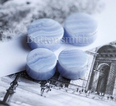 $13.60 • Buy Pair Of Blue Lace Agate Natural Organic Stone Plugs Gauges  6mm - 25mm  10 SIZES