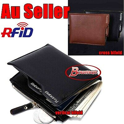 AU9.95 • Buy Mens Leather Wallet Purse Bifold Credit Card Coin Zipper RFID Blocking Anti Scan