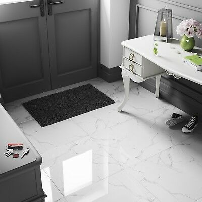 White Marble High Gloss Porcelain Tiles 60x60, 9mm Wall-Floor, Kitchen-Bathroom • 1.99£