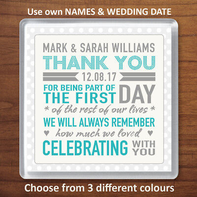 £1.99 • Buy Personalised Wedding Favour Thank You Gift Drinks Coaster For Family & Friends