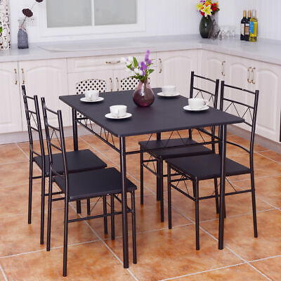 5 Piece Dining Table Set 4 Chairs Wood Metal Kitchen Breakfast Furniture Black • 113.95$