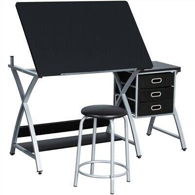 £79.99 • Buy Adjustable Drafting Table Drawing Station Desk Board Storage Drawers W/ Stool
