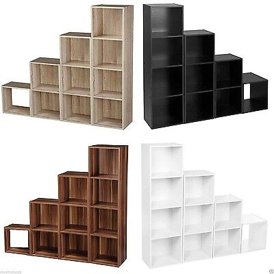 Wooden Storage Unit Cube 2 3 4 Tier Strong Bookcase Shelving Home Office Display • 16.99£