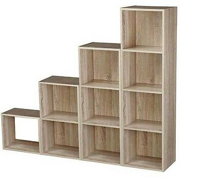 Cube 2, 3, 4 Tier Wooden Book Case Display Storage Shelving Unit Antique Oak • 13.49£