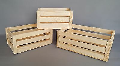 Wooden Crate Boxes Many Sizes Storage Apple Fruit Plain Wood Box Craft Crates • 6.49£