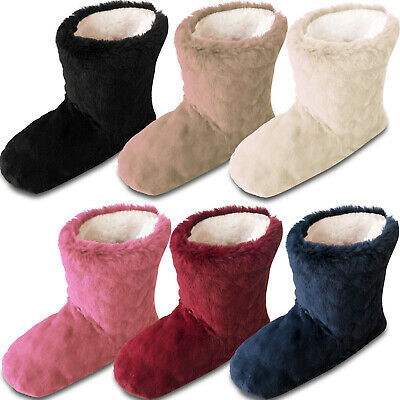 Ladies Fur Fleece Slipper Boots Warm Cosy Lined House Shoes • 8.84£
