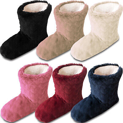 Ladies Fur Fleece Slipper Boots Warm Cosy Lined House Shoes • 7.84£