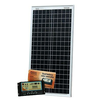 40W 12V Dual Battery Solar Panel Kit For Camper / Boat With Controller (40 Watt) • 107.99£