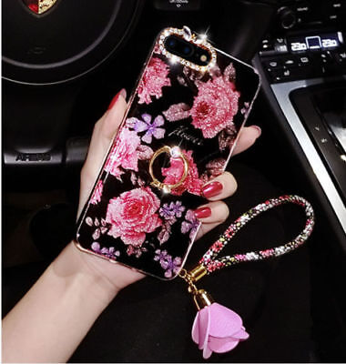 AU8.43 • Buy New Flowers With Rhinestone Ear Girls Women Slim Phone Case +Ring Holder+Strap