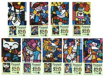 Romero Britto Collection Of 9 Prepaid Phone Cards (samples) ** Rare ** Mint • 148.45£