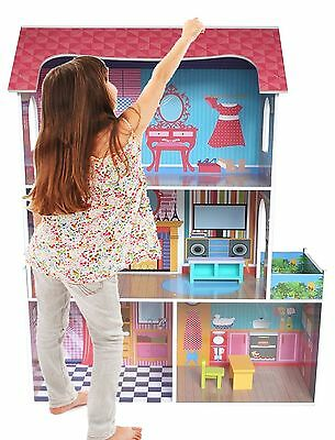 £59.99 • Buy Kiddi Style Large Kids Girls Tall Town Wooden Doll House & Furniture Fits Barbie
