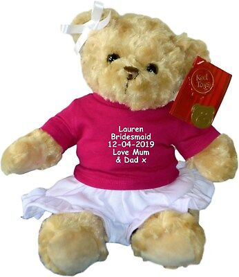 £21 • Buy Personalised Teddy Bear Flower Girl Bridesmaid Embroidered Wedding Gift Pink