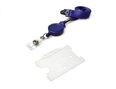 ID Card Work Pass Holder AND Navy Lanyard Neck Strap With Retractable Badge Reel • 2.49£