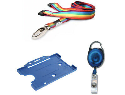 ID Card Holder, Neck Strap Lanyard With Clip & Retractable YoYo Badge Reel NHS • 4.29£