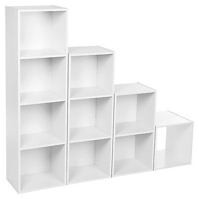 Wooden Cube, 2-3-4 Tier Sturdy Book Case Display Storage Shelving Unit White • 10.99£