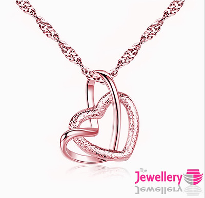 Rose Gold Plated Open Double Heart Pendant Necklace Chain Womens Ladies Gift • 3.99£